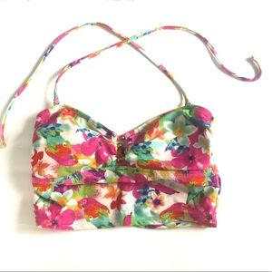 Tropical colorful swim top with flowers